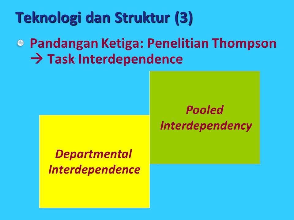 Departmental Interdependence Teknologi dan Struktur (3) Pandangan Ketiga: Penelitian Thompson  Task Interdependence Pooled Interdependency