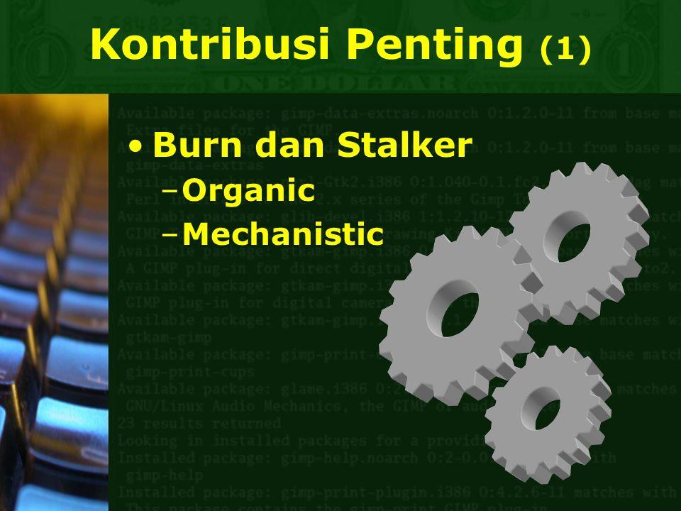 Kontribusi Penting (1) Burn dan Stalker –Organic –Mechanistic