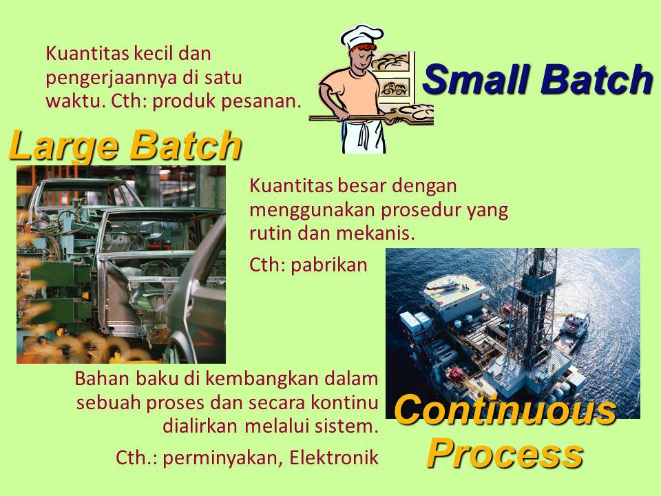 Small Batch Large Batch Kuantitas besar dengan menggunakan prosedur yang rutin dan mekanis. Cth: pabrikan Kuantitas kecil dan pengerjaannya di satu wa