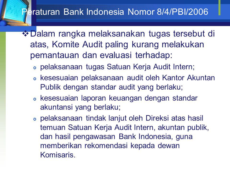 Peraturan Bank Indonesia Nomor 8/4/PBI/2006  Dalam rangka melaksanakan tugas tersebut di atas, Komite Audit paling kurang melakukan pemantauan dan ev