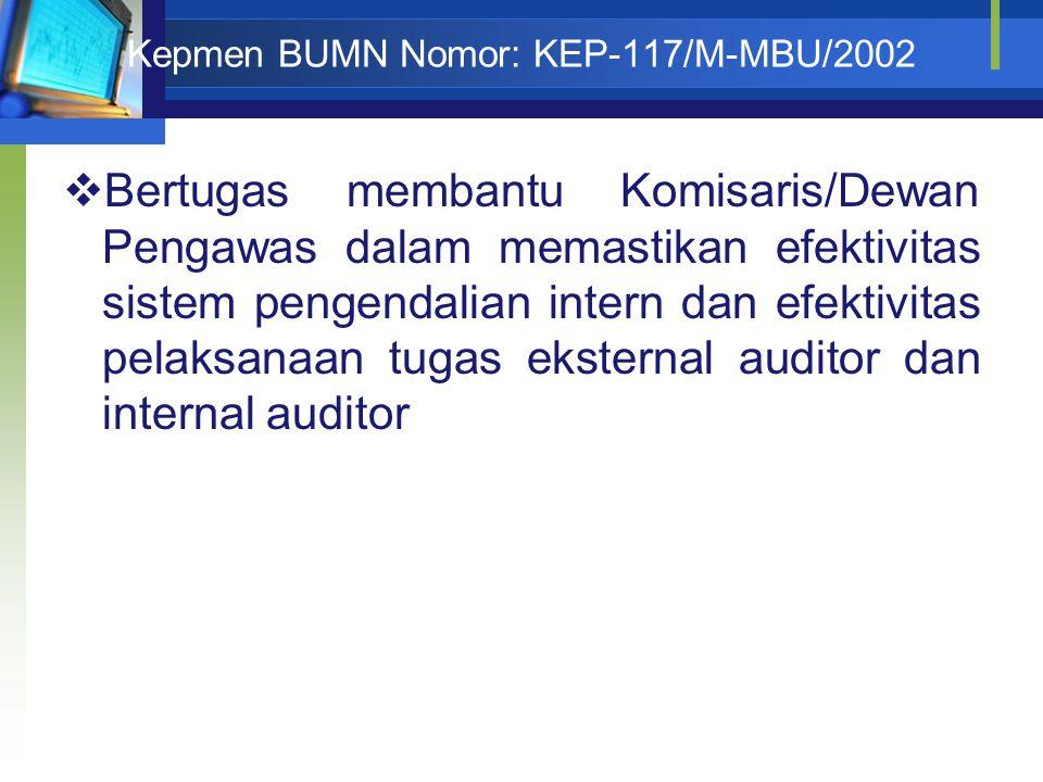 Kepmen BUMN Nomor: KEP-117/M-MBU/2002  Bertugas membantu Komisaris/Dewan Pengawas dalam memastikan efektivitas sistem pengendalian intern dan efektivitas pelaksanaan tugas eksternal auditor dan internal auditor