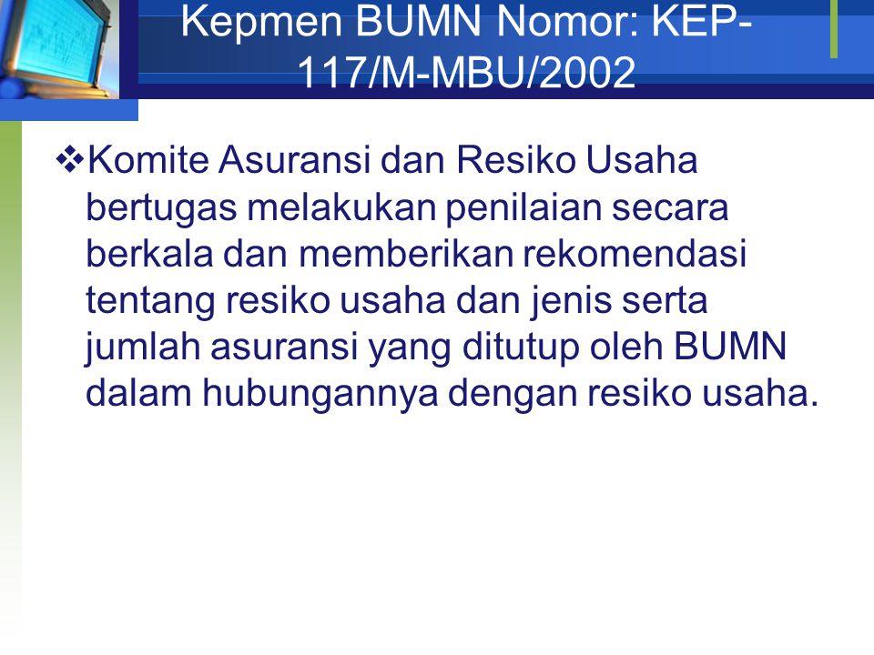 Kepmen BUMN Nomor: KEP- 117/M-MBU/2002  Komite Asuransi dan Resiko Usaha bertugas melakukan penilaian secara berkala dan memberikan rekomendasi tenta