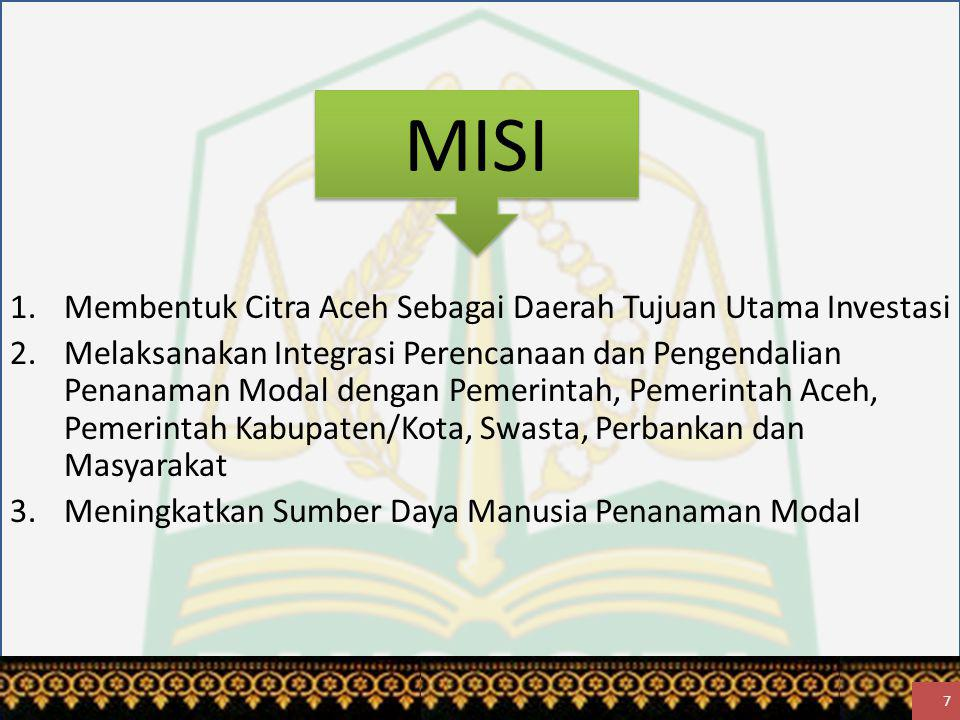 MISI 1.Membentuk Citra Aceh Sebagai Daerah Tujuan Utama Investasi 2.Melaksanakan Integrasi Perencanaan dan Pengendalian Penanaman Modal dengan Pemerintah, Pemerintah Aceh, Pemerintah Kabupaten/Kota, Swasta, Perbankan dan Masyarakat 3.Meningkatkan Sumber Daya Manusia Penanaman Modal 7