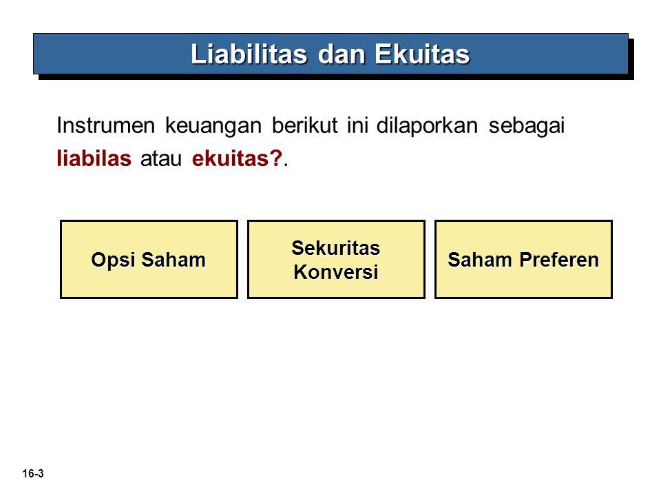 16-3 Liabilitas dan Ekuitas Opsi Saham Sekuritas Konversi Saham Preferen Instrumen keuangan berikut ini dilaporkan sebagai liabilas atau ekuitas?.