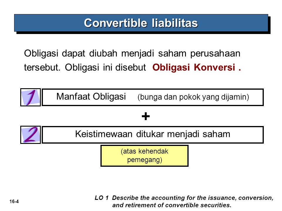 16-4 (atas kehendak pemegang) Manfaat Obligasi (bunga dan pokok yang dijamin) Keistimewaan ditukar menjadi saham Obligasi dapat diubah menjadi saham p