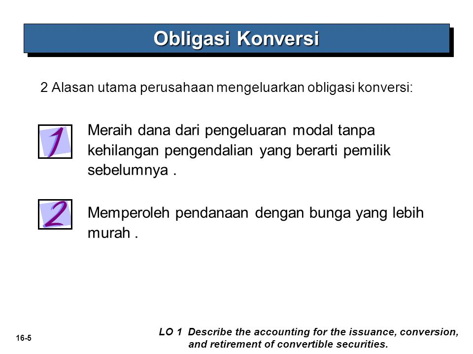16-16 Dari contoh sebelumnya Obligasi Konversi LO 1 Describe the accounting for the issuance, conversion, and retirement of convertible securities.
