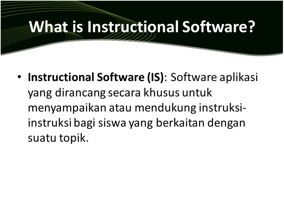 What is Instructional Software.