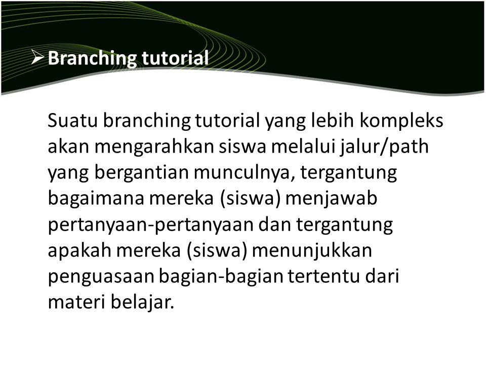  Branching tutorial Suatu branching tutorial yang lebih kompleks akan mengarahkan siswa melalui jalur/path yang bergantian munculnya, tergantung baga