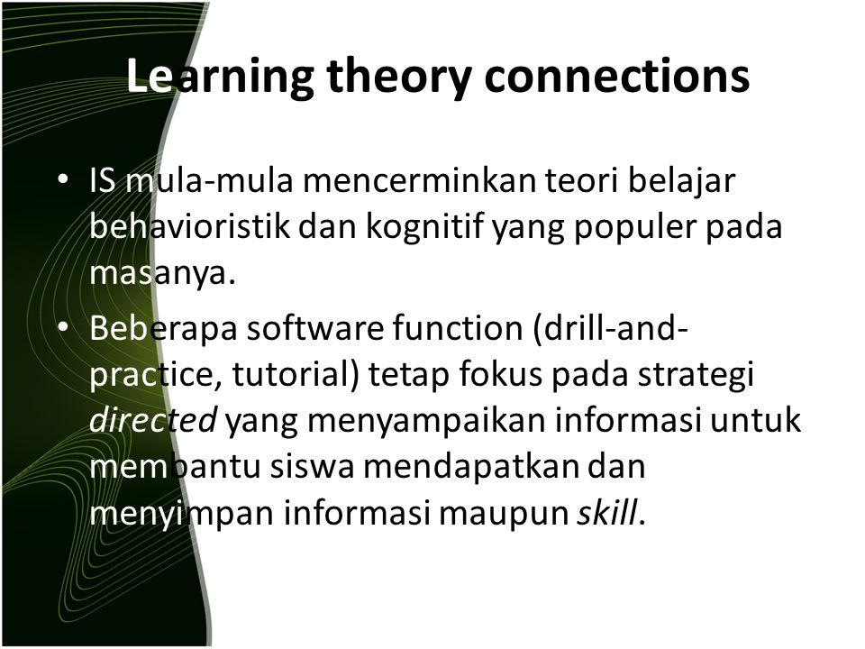 Learning theory connections IS mula-mula mencerminkan teori belajar behavioristik dan kognitif yang populer pada masanya. Beberapa software function (