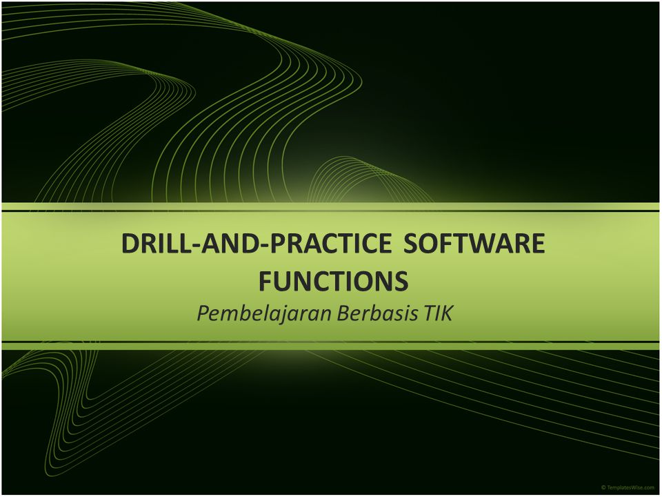 Drill-and-practice: Definition and Characteristics Drill-and-practice software menyajikan latihan-latihan yang mana di dalamnya para siswa mengerjakan soal sesuai contoh- contohnya, biasanya hanya sekali dalam satu waktu pengerjaan, dan kemudian mendapatkan feedback (seberapa banyak jawaban yang benar).