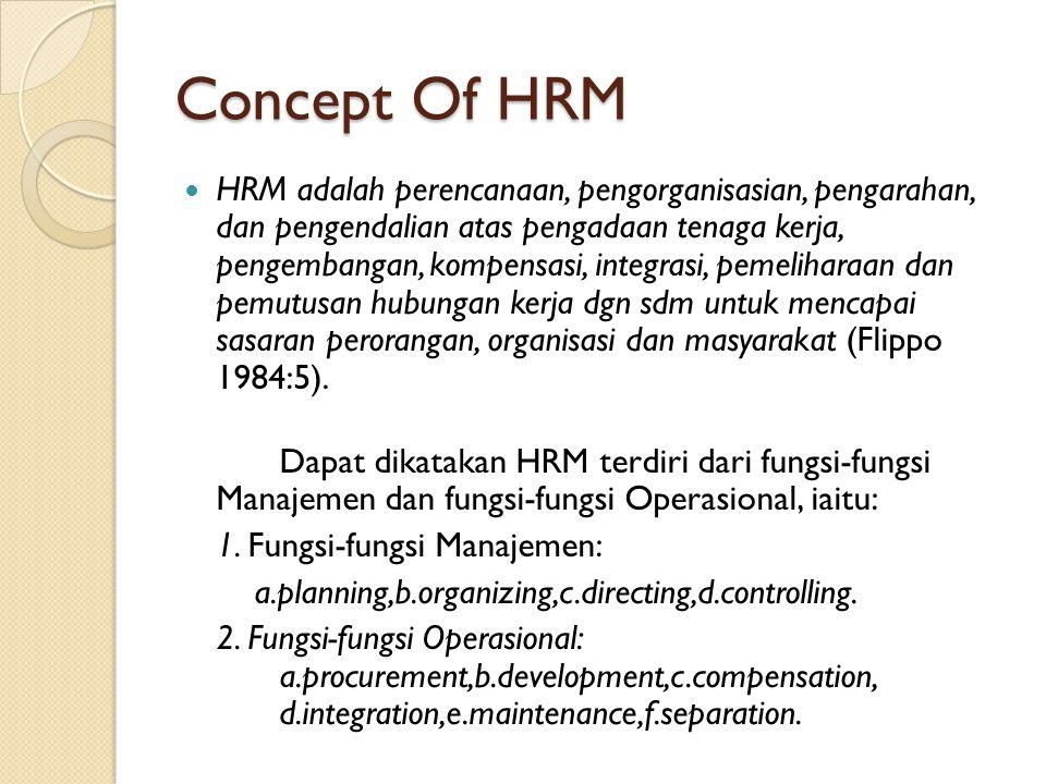 Concept Of HRM HRM adalah perencanaan, pengorganisasian, pengarahan, dan pengendalian atas pengadaan tenaga kerja, pengembangan, kompensasi, integrasi