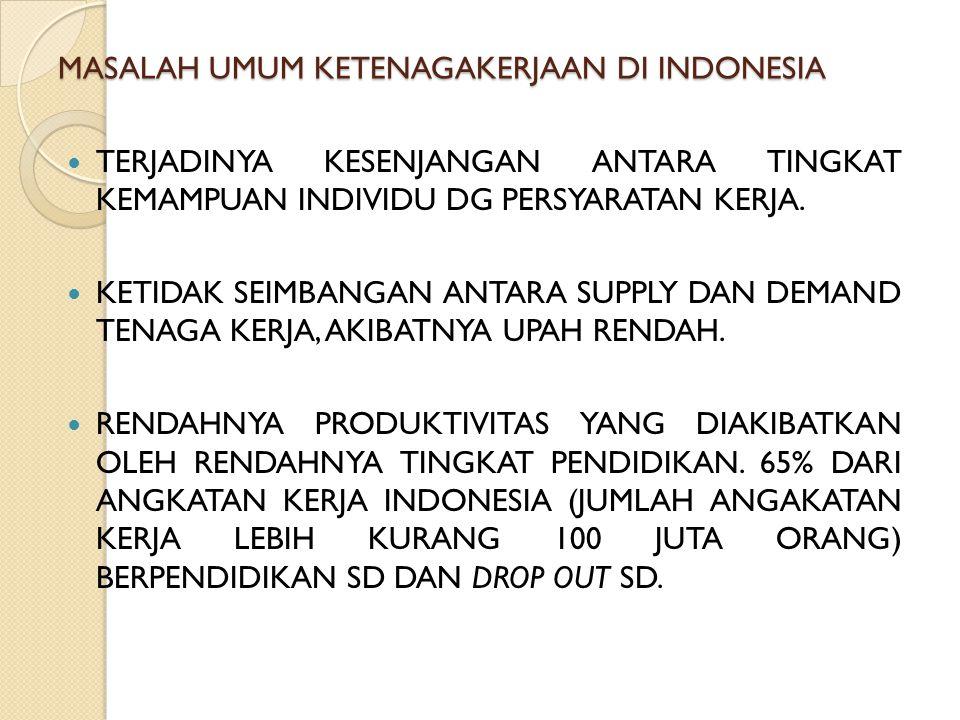 MASALAH UMUM KETENAGAKERJAAN DI INDONESIA TERJADINYA KESENJANGAN ANTARA TINGKAT KEMAMPUAN INDIVIDU DG PERSYARATAN KERJA. KETIDAK SEIMBANGAN ANTARA SUP
