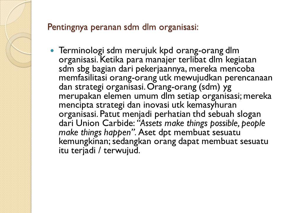 Pentingnya peranan sdm dlm organisasi: Terminologi sdm merujuk kpd orang-orang dlm organisasi. Ketika para manajer terlibat dlm kegiatan sdm sbg bagia