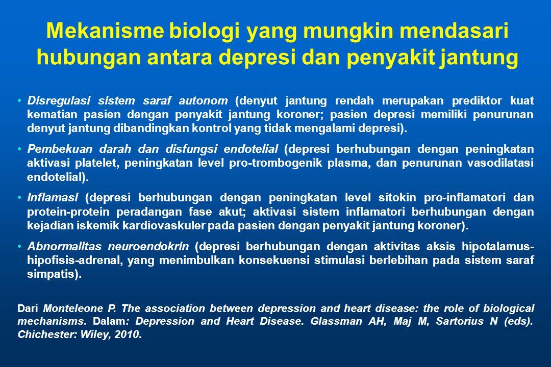 Mekanisme biologi yang mungkin mendasari hubungan antara depresi dan penyakit jantung Disregulasi sistem saraf autonom (denyut jantung rendah merupakan prediktor kuat kematian pasien dengan penyakit jantung koroner; pasien depresi memiliki penurunan denyut jantung dibandingkan kontrol yang tidak mengalami depresi).