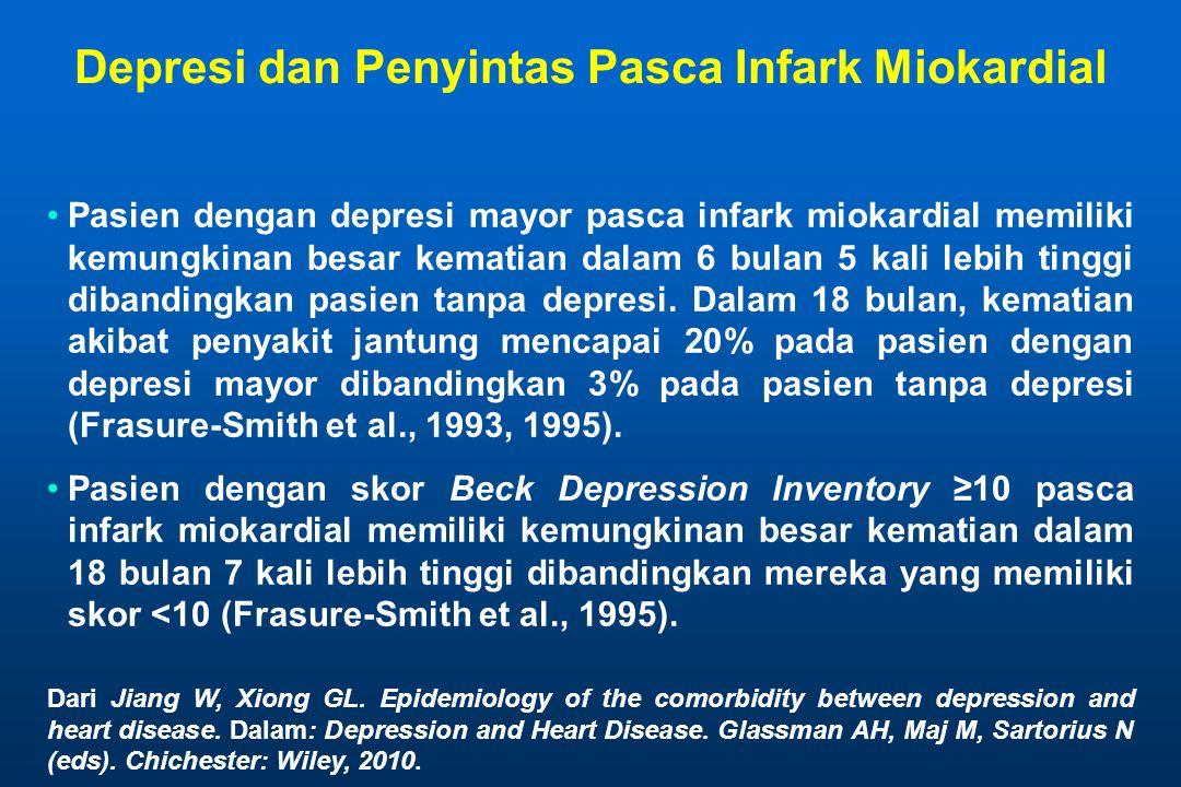 Depresi dan Penyintas Pasca Infark Miokardial Pasien dengan depresi mayor pasca infark miokardial memiliki kemungkinan besar kematian dalam 6 bulan 5 kali lebih tinggi dibandingkan pasien tanpa depresi.