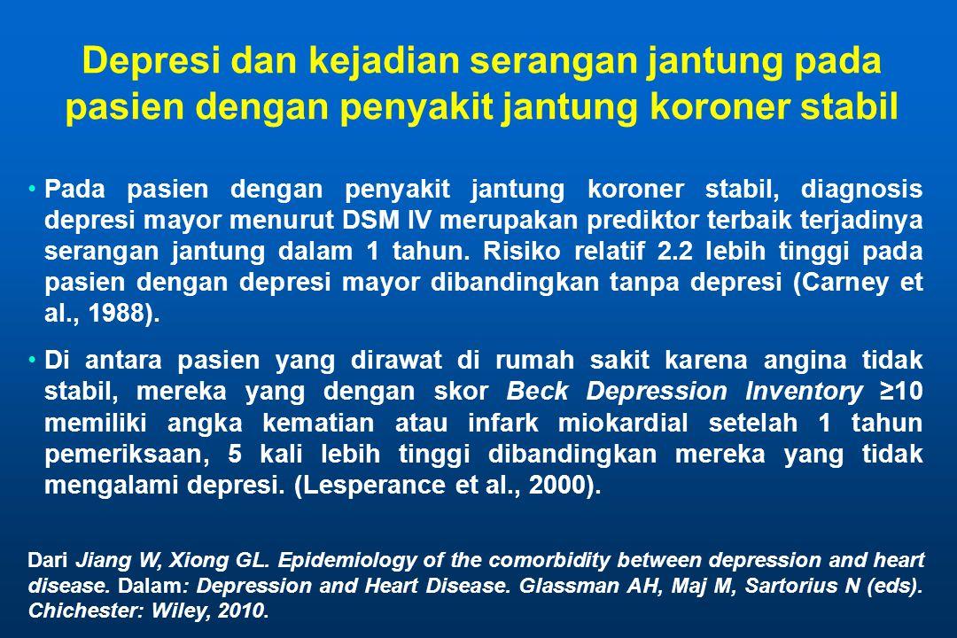 Depresi dan kejadian serangan jantung pada pasien dengan penyakit jantung koroner stabil Pada pasien dengan penyakit jantung koroner stabil, diagnosis depresi mayor menurut DSM IV merupakan prediktor terbaik terjadinya serangan jantung dalam 1 tahun.
