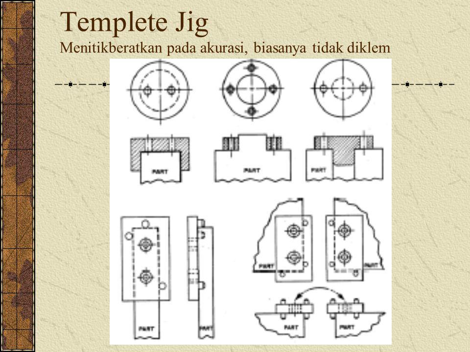Templete Jig Menitikberatkan pada akurasi, biasanya tidak diklem
