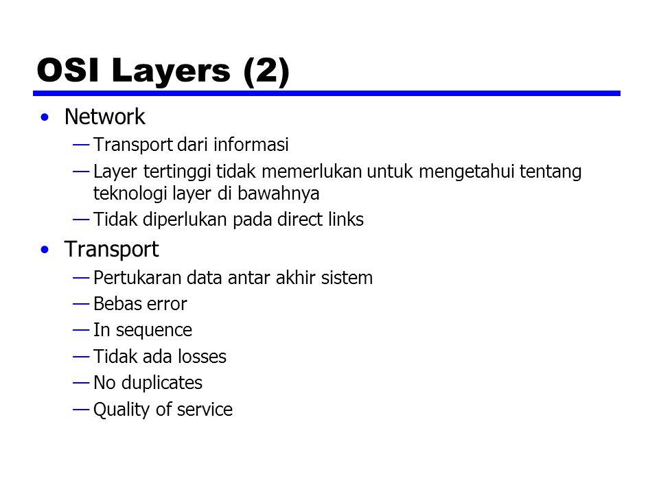 OSI Layers (3) Session —Mengendalikan dialog antar aplikasi —Dialogue discipline —Pengelompokan —Recovery Presentation —Data formats and coding —Kompressi data —Encryption Application —Aplikasi digunakan untuk mengakses lingkungan OSI