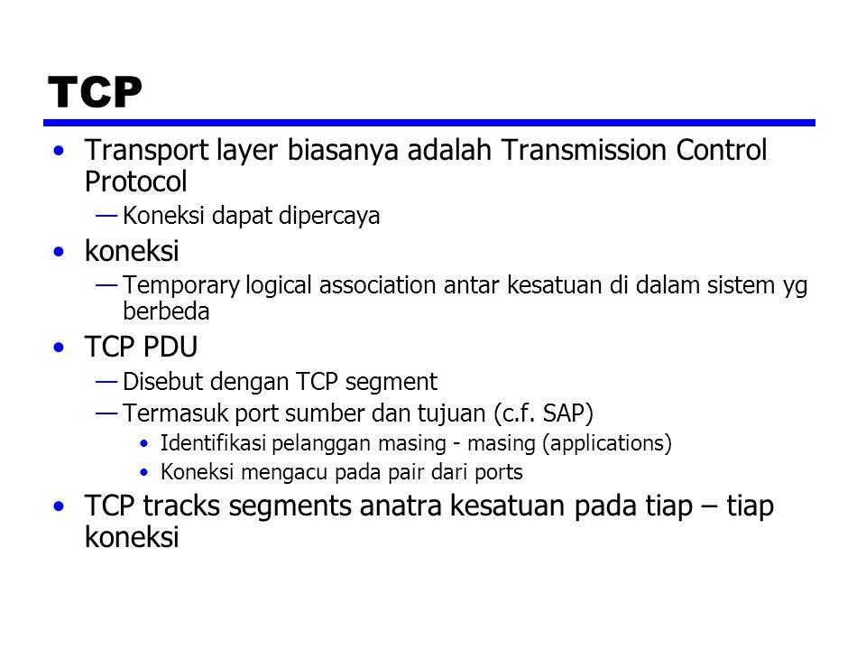 TCP Transport layer biasanya adalah Transmission Control Protocol —Koneksi dapat dipercaya koneksi —Temporary logical association antar kesatuan di dalam sistem yg berbeda TCP PDU —Disebut dengan TCP segment —Termasuk port sumber dan tujuan (c.f.