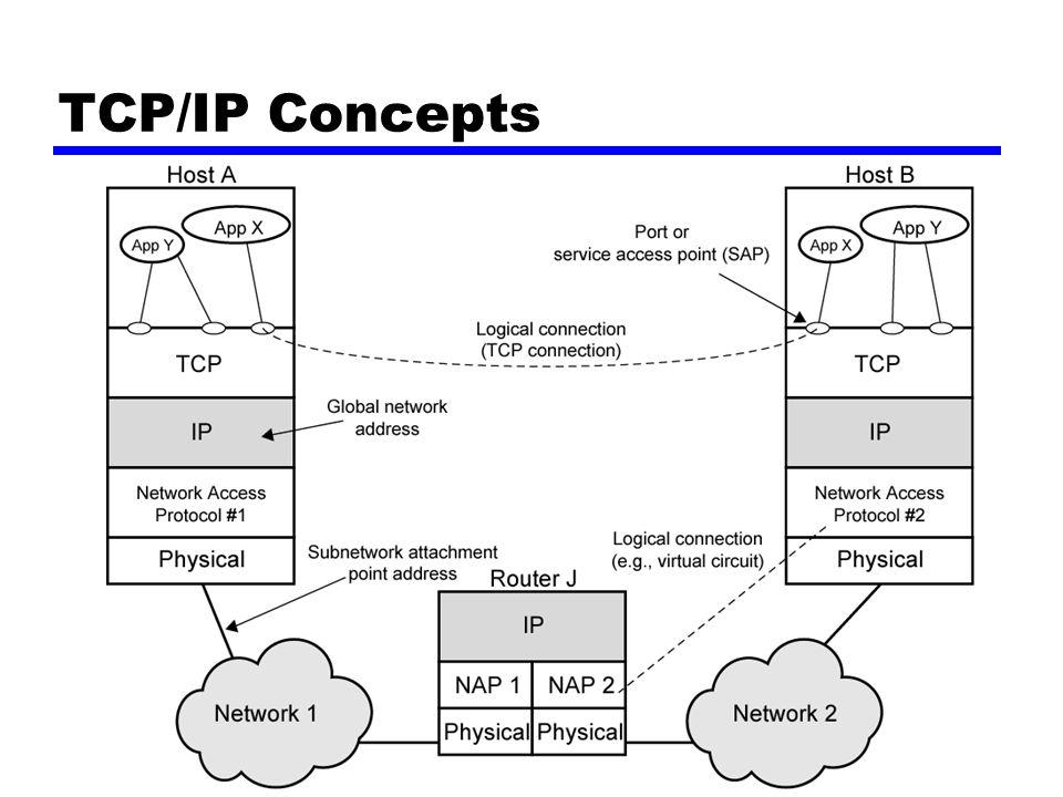 Addressing level Level dalam architecture dimana kesatuan dinamai Pengalamatan unik untuk tiap akhir sistem (computer) and router Network level address —IP or internet address (TCP/IP) —Network service access point or NSAP (OSI) Proses didalam sistem —Port number (TCP/IP) —Service access point or SAP (OSI)