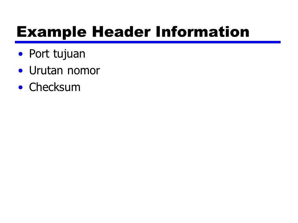 Example Header Information Port tujuan Urutan nomor Checksum