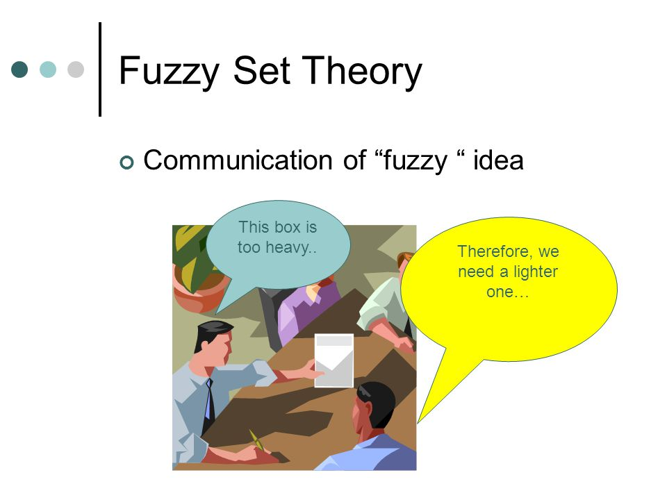 "Fuzzy Set Theory Communication of ""fuzzy "" idea This box is too heavy.. Therefore, we need a lighter one…"