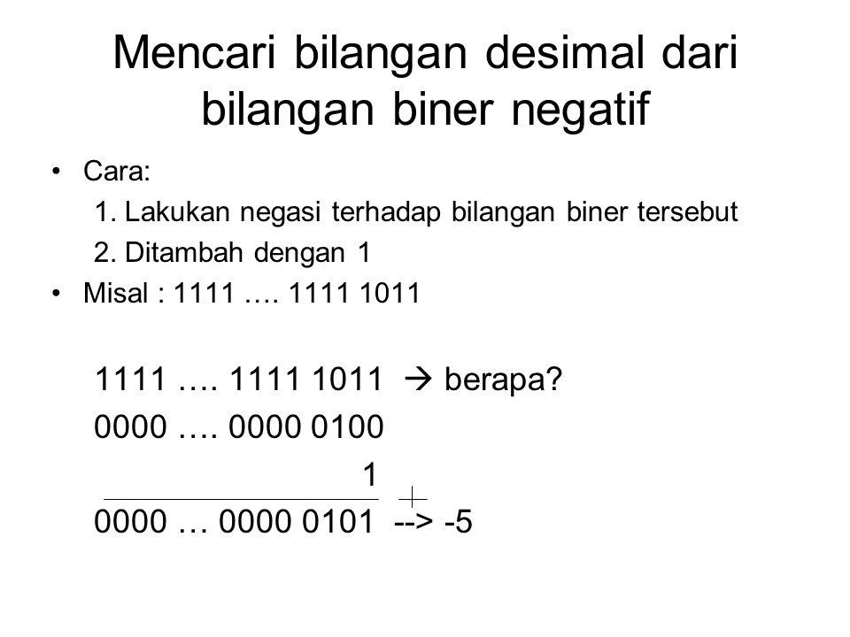 Mencari bilangan desimal dari bilangan biner negatif Cara: 1.