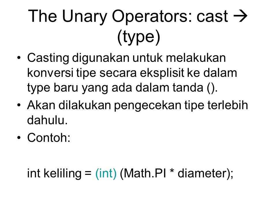 The Unary Operators: cast  (type) Casting digunakan untuk melakukan konversi tipe secara eksplisit ke dalam type baru yang ada dalam tanda ().