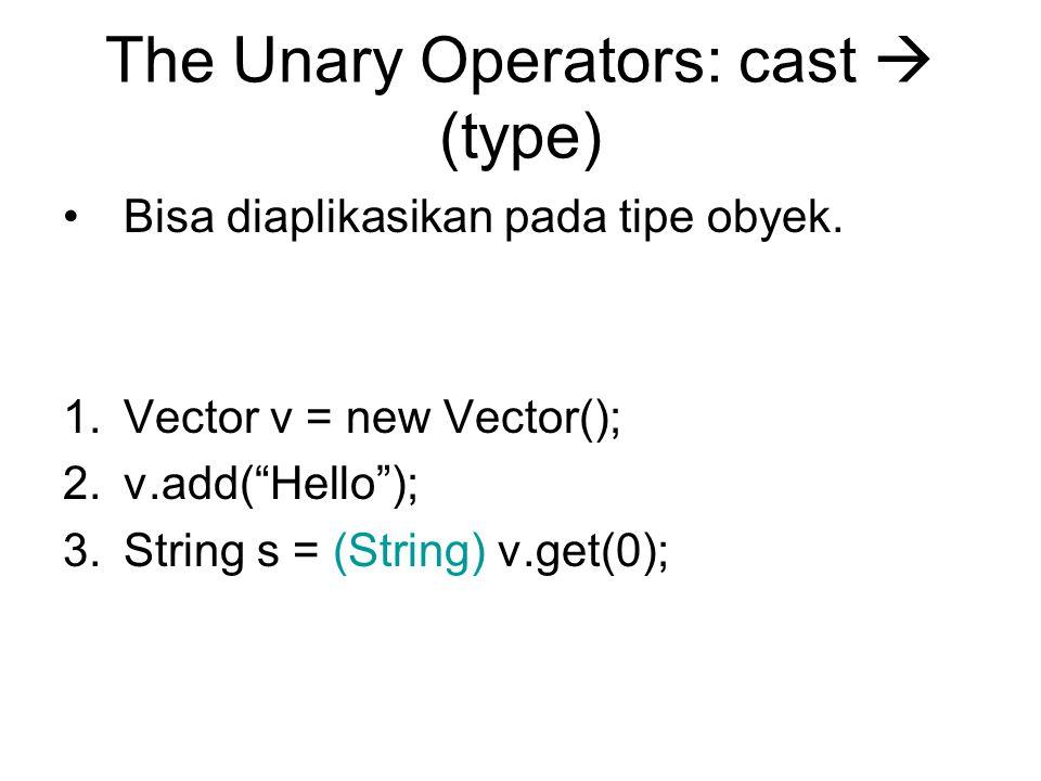 The Unary Operators: cast  (type) Bisa diaplikasikan pada tipe obyek.