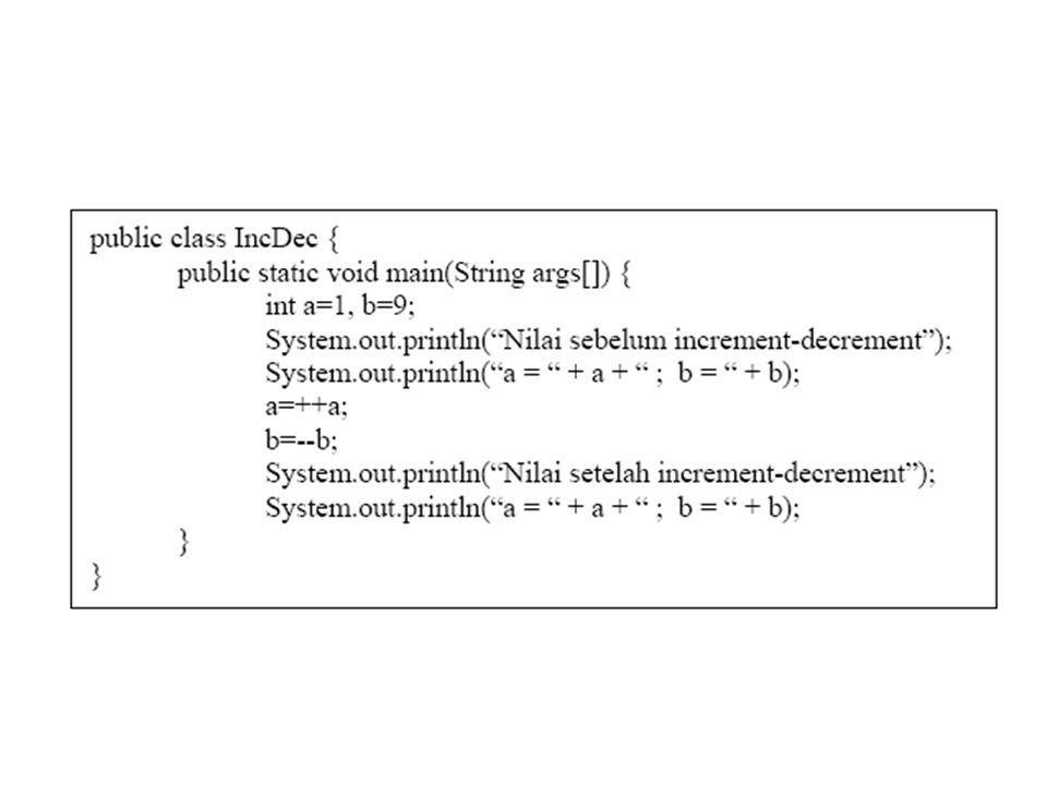 The Unary Operators: + dan - 1.X = -3; 2.Y = +3; 3.Z = -(Y+6);