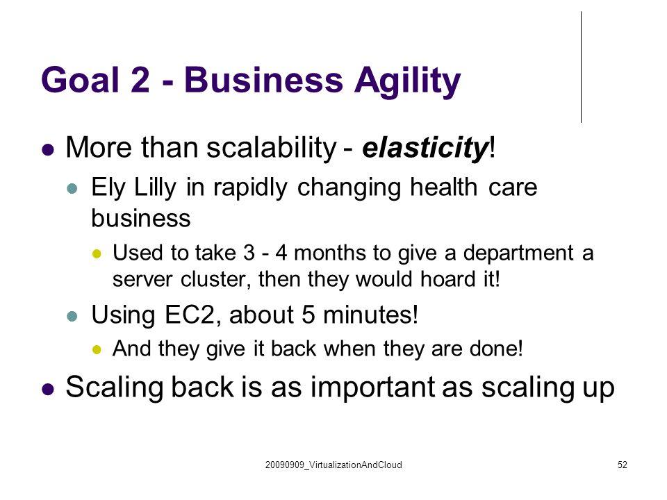 20090909_VirtualizationAndCloud52 Goal 2 - Business Agility More than scalability - elasticity.