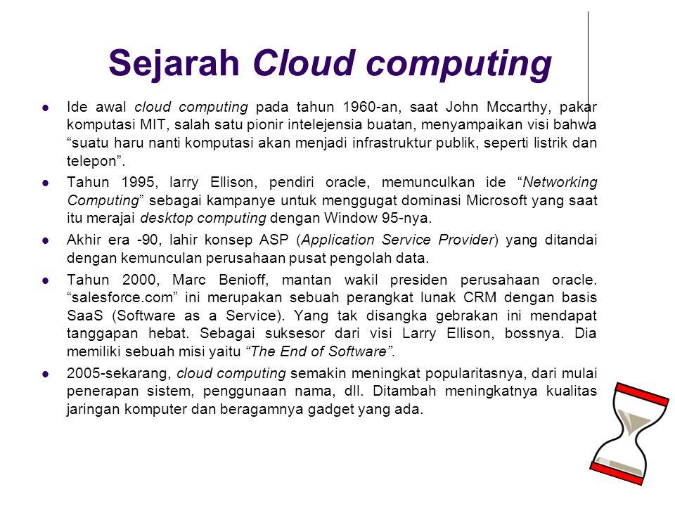 Sejarah Cloud computing Ide awal cloud computing pada tahun 1960-an, saat John Mccarthy, pakar komputasi MIT, salah satu pionir intelejensia buatan, m