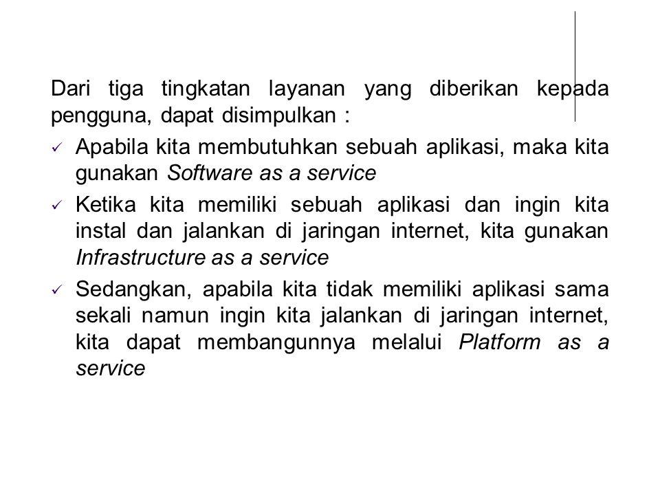 Dari tiga tingkatan layanan yang diberikan kepada pengguna, dapat disimpulkan : Apabila kita membutuhkan sebuah aplikasi, maka kita gunakan Software a