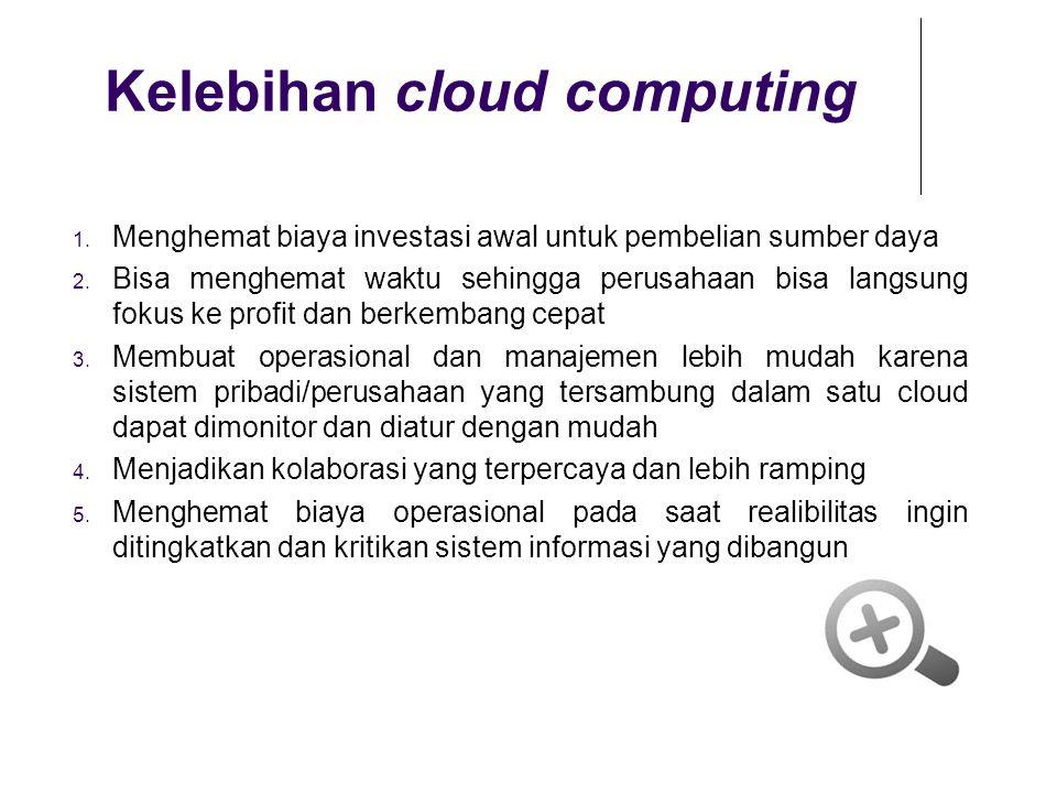 Kelebihan cloud computing 1. Menghemat biaya investasi awal untuk pembelian sumber daya 2. Bisa menghemat waktu sehingga perusahaan bisa langsung foku