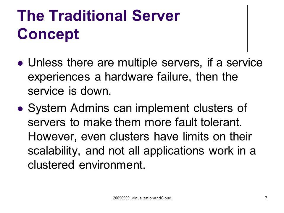 Virtual Server disadvantages When host server machine crash, all virtual servers embedded in the server crash too.
