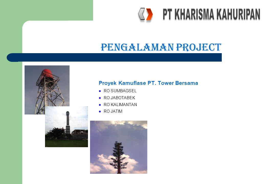 PENGALAMAN PROJECT Proyek Kamuflase PT. Tower Bersama RO SUMBAGSEL RO JABOTABEK RO KALIMANTAN RO JATIM