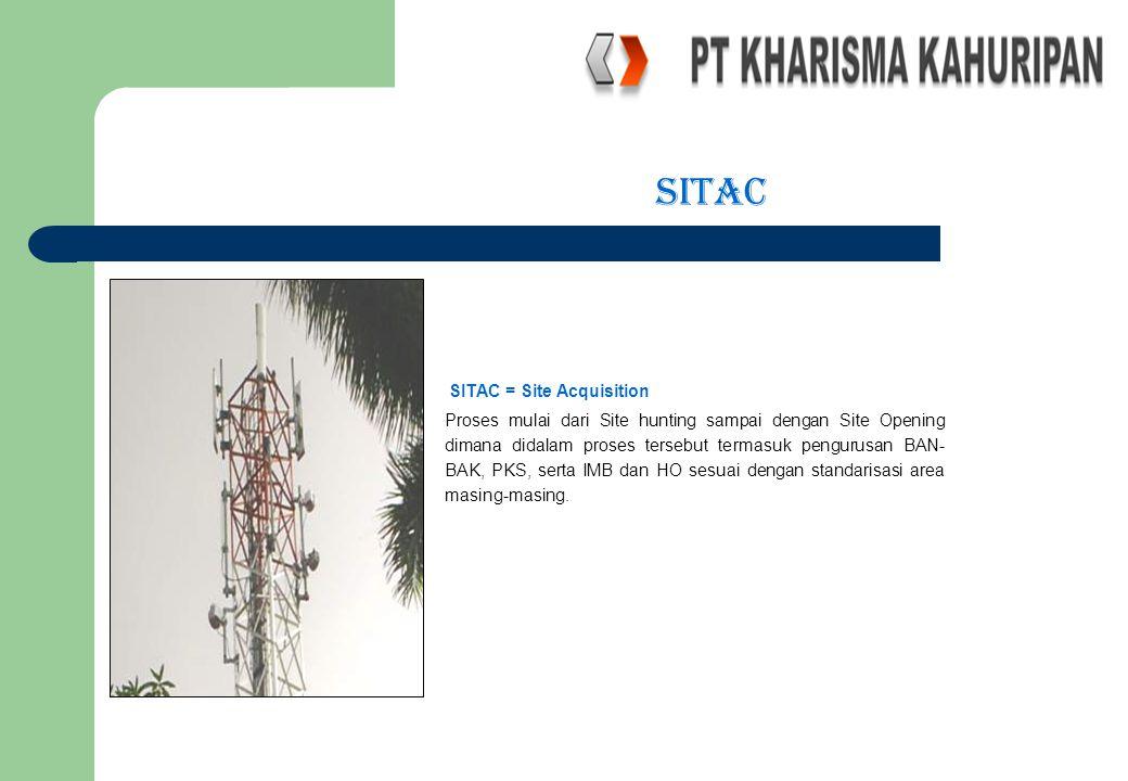sitac SITAC = Site Acquisition Proses mulai dari Site hunting sampai dengan Site Opening dimana didalam proses tersebut termasuk pengurusan BAN- BAK,