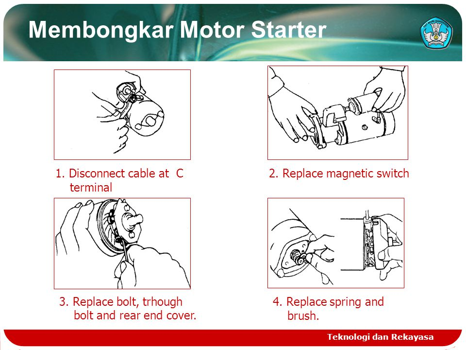 1. Disconnect cable at C terminal 2. Replace magnetic switch 3. Replace bolt, trhough bolt and rear end cover. 4. Replace spring and brush. Teknologi