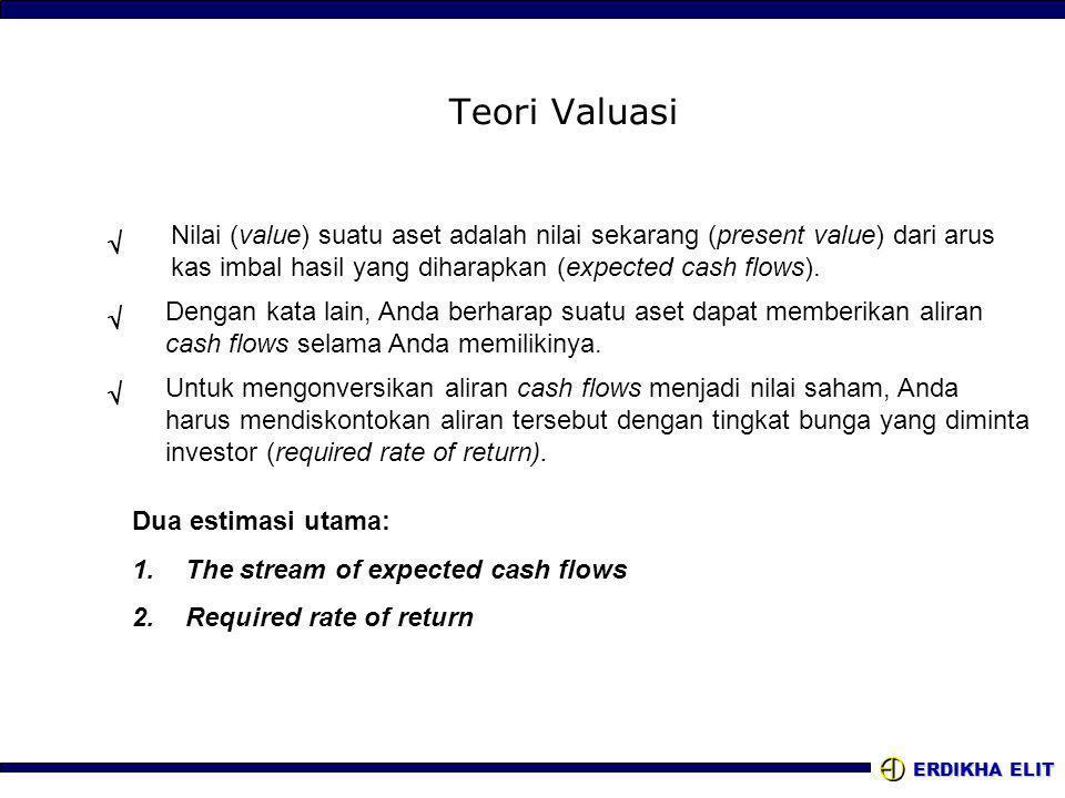ERDIKHA ELIT Teori Valuasi Nilai (value) suatu aset adalah nilai sekarang (present value) dari arus kas imbal hasil yang diharapkan (expected cash flows).