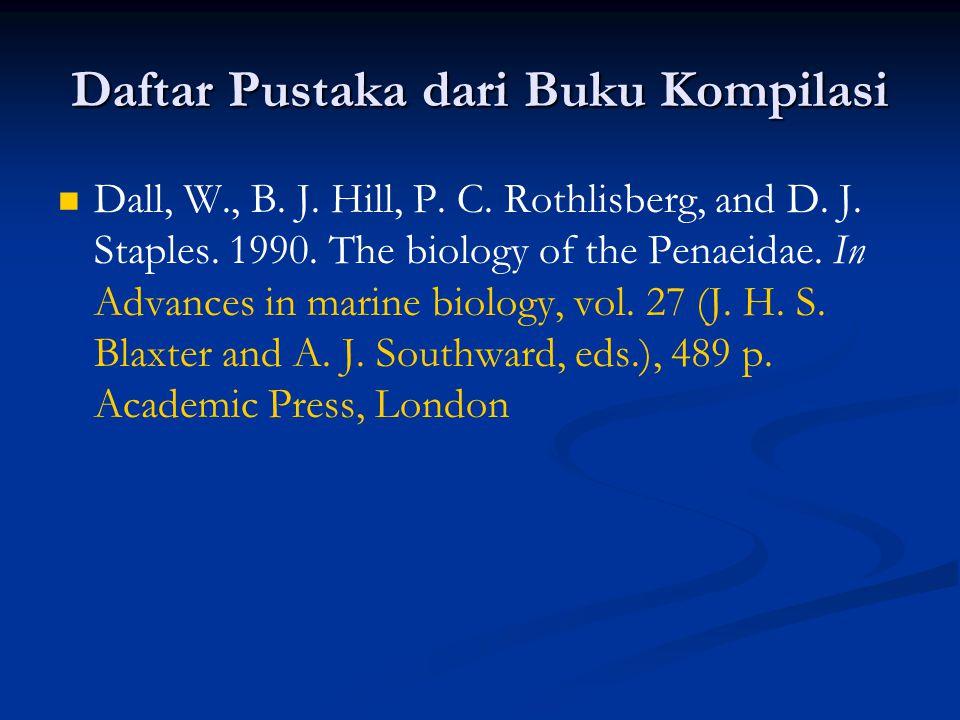 Daftar Pustaka dari Buku Kompilasi Dall, W., B. J.