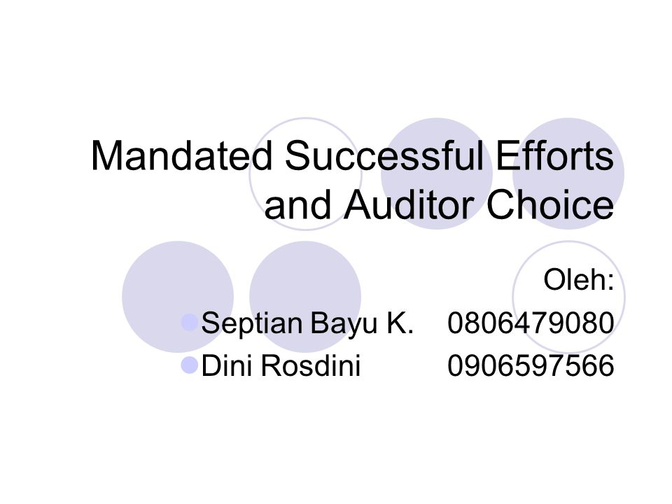 Outline Introduction Mandated accounting standards and auditor choice Research design overview, sample selection, and competing explanations Empirical results The relationship between auditor changes and auditors' SE/FE positions Summary and conclusions