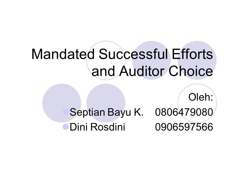 Summary and Conclusions Paper ini memberikan bukti bahwa perusahaan minyak yang terkena dampak SFAS-19 mengalami kenaikan dalam tingat perubahan auditor selama SE/FC controversy.