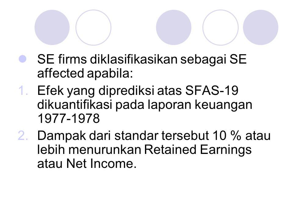 SE firms diklasifikasikan sebagai SE affected apabila: 1.Efek yang diprediksi atas SFAS-19 dikuantifikasi pada laporan keuangan 1977-1978 2.Dampak dari standar tersebut 10 % atau lebih menurunkan Retained Earnings atau Net Income.