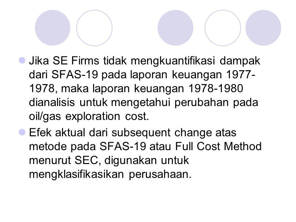 Jika SE Firms tidak mengkuantifikasi dampak dari SFAS-19 pada laporan keuangan 1977- 1978, maka laporan keuangan 1978-1980 dianalisis untuk mengetahui perubahan pada oil/gas exploration cost.