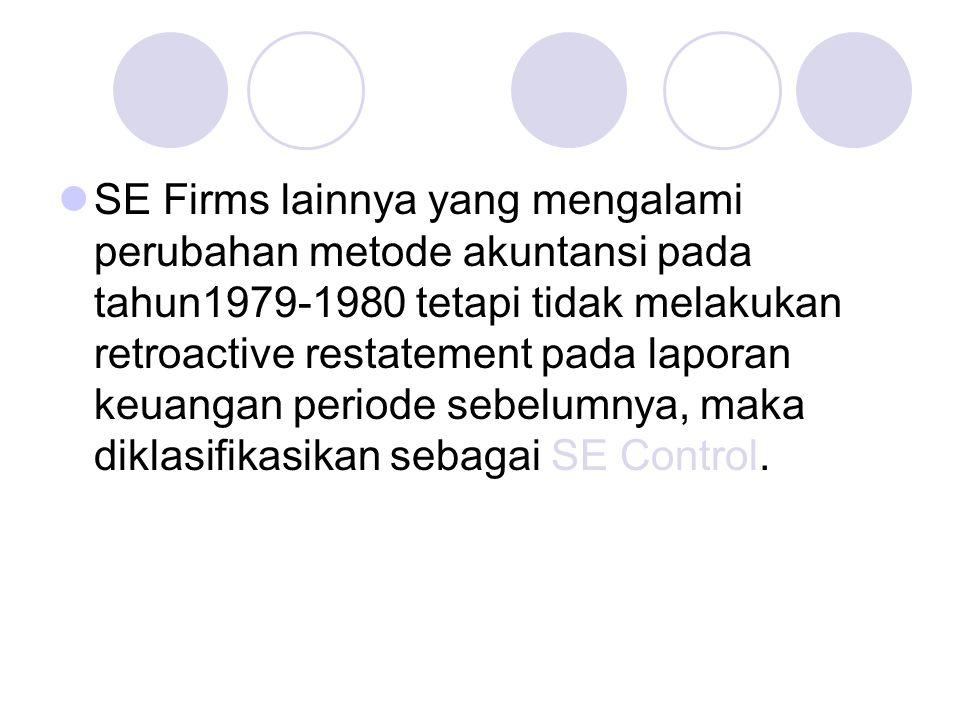 SE Firms lainnya yang mengalami perubahan metode akuntansi pada tahun1979-1980 tetapi tidak melakukan retroactive restatement pada laporan keuangan periode sebelumnya, maka diklasifikasikan sebagai SE Control.