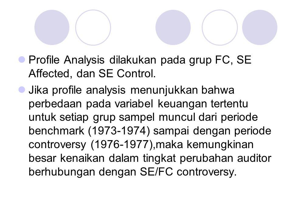 Profile Analysis dilakukan pada grup FC, SE Affected, dan SE Control.
