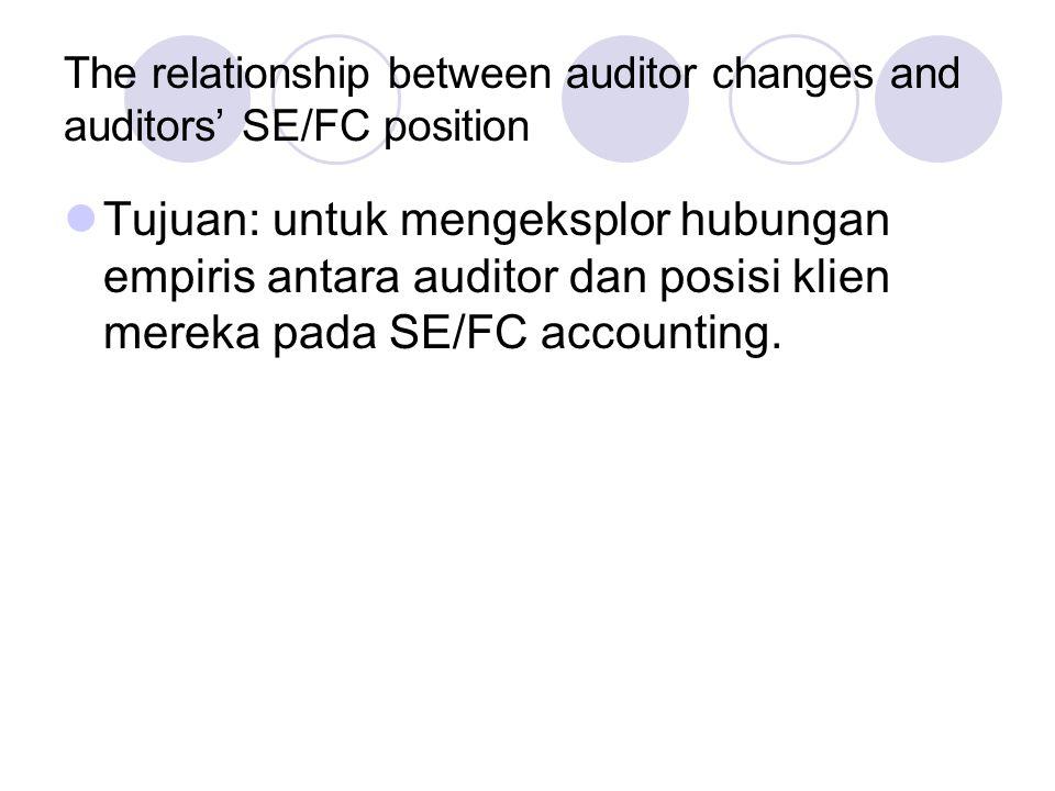 The relationship between auditor changes and auditors' SE/FC position Tujuan: untuk mengeksplor hubungan empiris antara auditor dan posisi klien mereka pada SE/FC accounting.