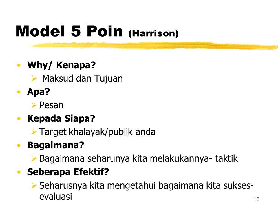 13 Model 5 Poin (Harrison) Why/ Kenapa?  Maksud dan Tujuan Apa?  Pesan Kepada Siapa?  Target khalayak/publik anda Bagaimana?  Bagaimana seharunya