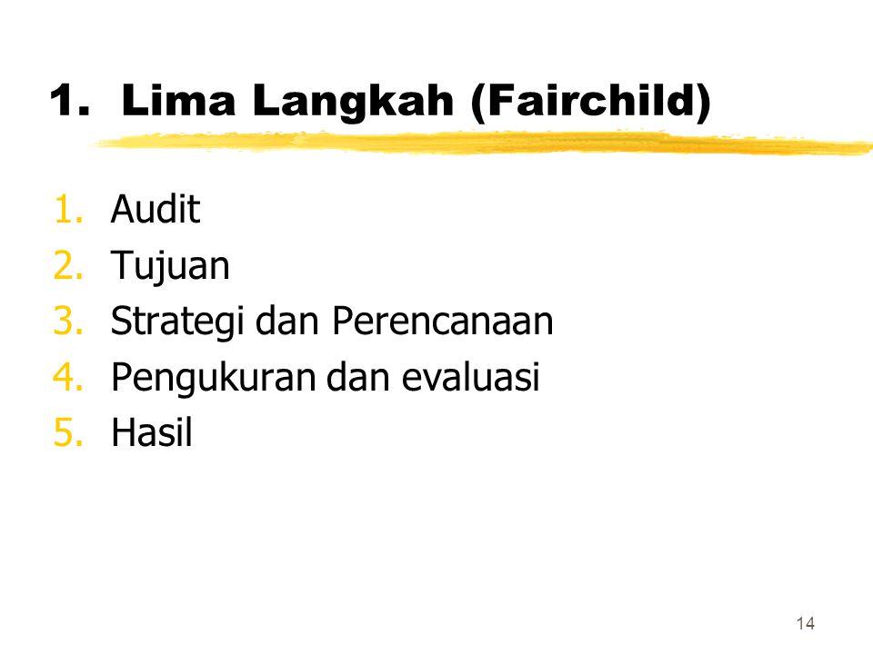 14 1.Lima Langkah (Fairchild) 1.Audit 2.Tujuan 3.Strategi dan Perencanaan 4.Pengukuran dan evaluasi 5.Hasil