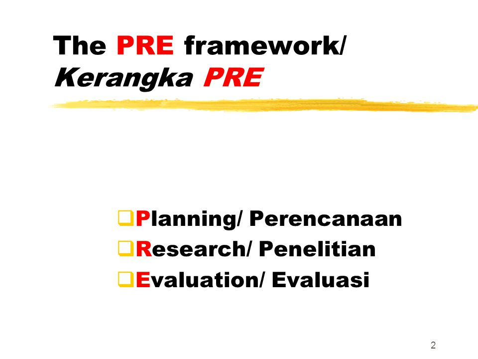 The PRE framework/ Kerangka PRE  Planning/ Perencanaan  Research/ Penelitian  Evaluation/ Evaluasi 2